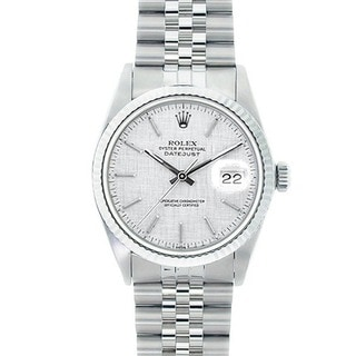 Pre-owned Rolex Men's Datejust White Gold Bezel Florentine Watch