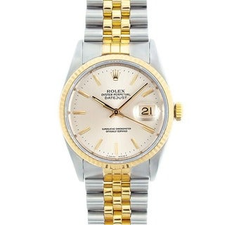 Pre-owned Rolex Men's Datejust Two-tone Silver Dial Watch