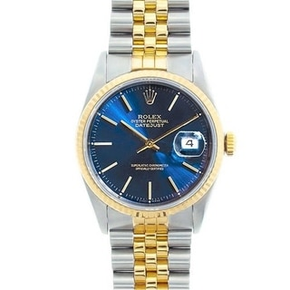 Pre-owned Rolex Men's Datejust Men's Stainless Steel and 18k Gold Blue Dial Watch