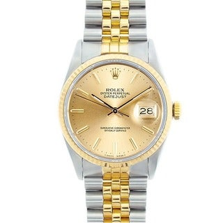 Pre-owned Rolex Datejust Men's Two-tone Champagne Dial Watch