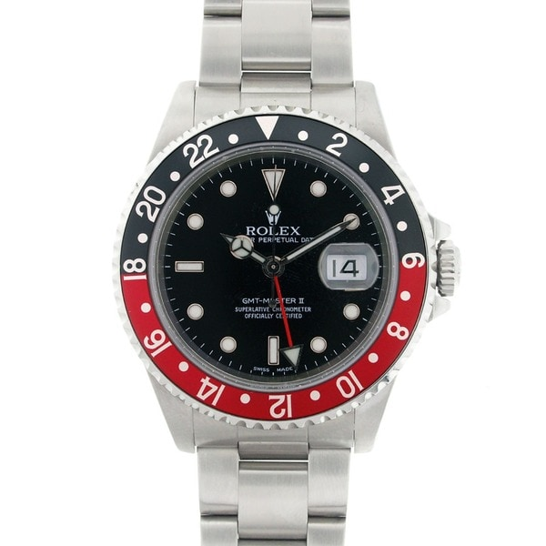 Pre-owned Rolex Men's GMT Master II 16710 Red and Black Bezel Stainless Steel Watch