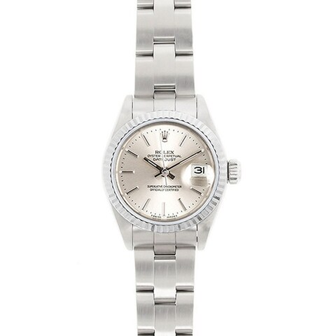 Pre-Owned Rolex Women's Datejust White Gold Bezel Oyster Band Watch