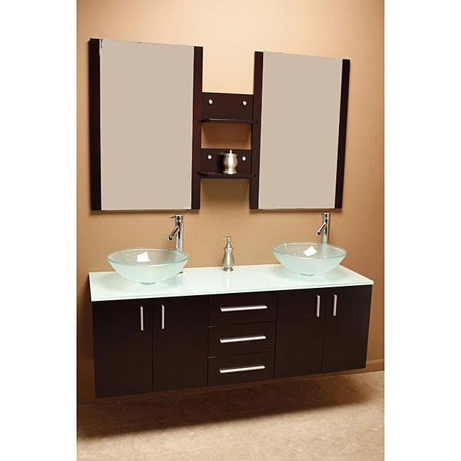 ... Element Contemporary Double Sink Bathroom Vanity with Vessel Sinks