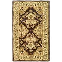Safavieh Handmade Heritage Timeless Traditional Dark Mocha/ Ivory Wool Rug - 2' X 3'