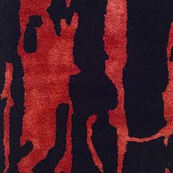 Safavieh Handmade Soho Deco Black/ Red New Zealand Wool Rug (2' x 3') - Thumbnail 2