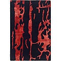 Safavieh Handmade Soho Deco Black/ Red New Zealand Wool Rug - 2' x 3'