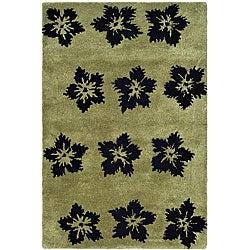 Safavieh Handmade Soho Leaves Sage New Zealand Wool Rug (2' x 3')