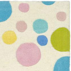 Safavieh Contemporary Handmade Soho Bubblegum Ivory/Multi N. Z. Wool Rug (2' x 3') - Thumbnail 1