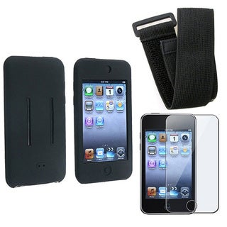 INSTEN Black Soft Silicone Skin Phone Case Cover Armband for Apple iTouch