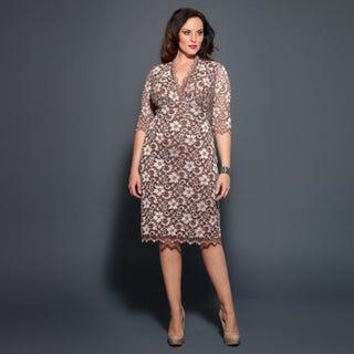 Kiyonna Women's Plus Size 3/4-sleeve Scalloped Boudoir Lace Dress