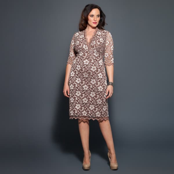 0c7124392c15a Shop Kiyonna Women's Plus Size 3/4-sleeve Scalloped Boudoir Lace Dress -  Free Shipping Today - Overstock - 4572984