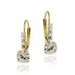 Icz Stonez 10k Yellow Gold Cubic Zirconia Leverback Earrings