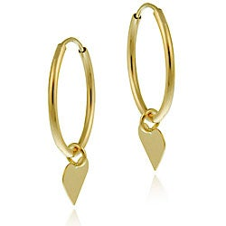 Mondevio 10k Gold Dangling Heart Endless Hoop Earrings