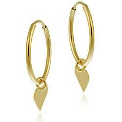 Mondevio 10k Gold Dangling Heart Endless Hoop Earrings