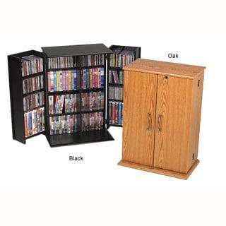 Prepac Wood Locking Media Storage Cabinet with Shaker Doors  sc 1 st  Overstock.com & Shop Prepac Everett Brown Wood Locking DVD/CD Media Storage Cabinet ...