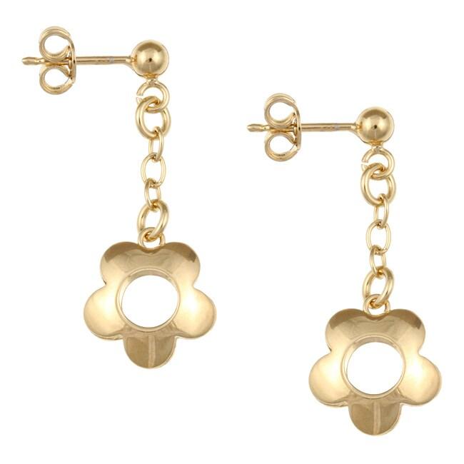 Sterling Essentials 14K Gold over Silver Flower Drop Earrings