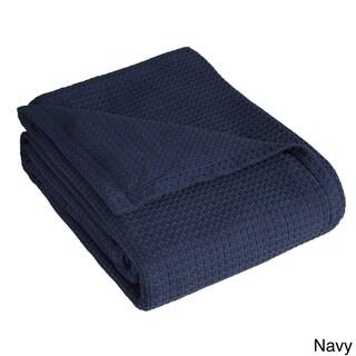Grand Hotel Woven Cotton Throw Blanket (Navy - Full - Queen)