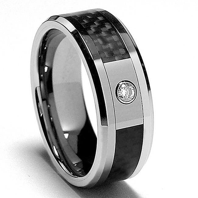 Men's Tungsten Diamond and Black Carbon Inlay Polished Ring (8 mm) - Thumbnail 0
