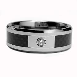 Men's Tungsten Diamond and Black Carbon Inlay Polished Ring (8 mm) - Thumbnail 1