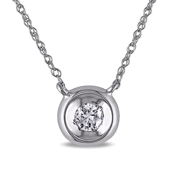 Miadora 10k White Gold Diamond Solitaire Necklace (H-I, I2-I3)