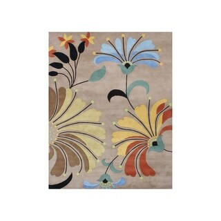 Hand-tufted Metro Flower Beige Wool Rug (8' x 10')