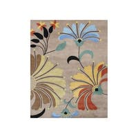 Hand-tufted Metro Flower Beige Wool Rug - 8' x 10'