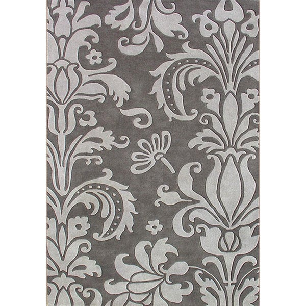Alliyah Handmade Grey New Zealand Blend Wool Rug (5' x 8')