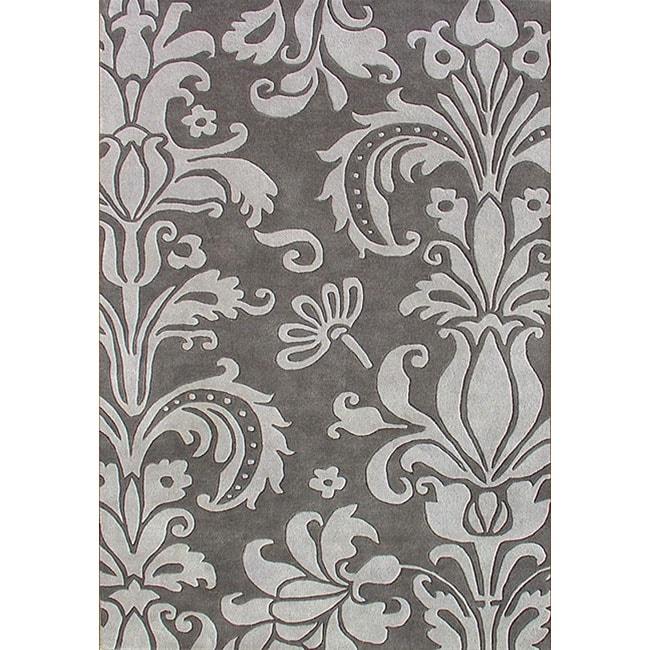 Alliyah Handmade Grey New Zealand Blend Wool Rug 5 X 8