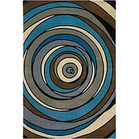 Artist's Loom Hand-tufted Contemporary Geometric Wool Rug - multi - 5' x 7'6