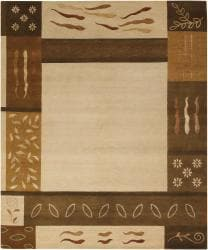 Artist's Loom Hand-knotted Country Abstract Wool Rug (9'x12')