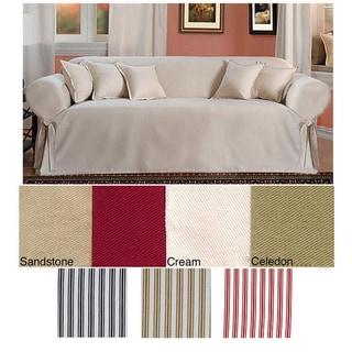 Classic Slipcovers Brushed Twill Sofa Slipcover (Khaki/White Stripe)