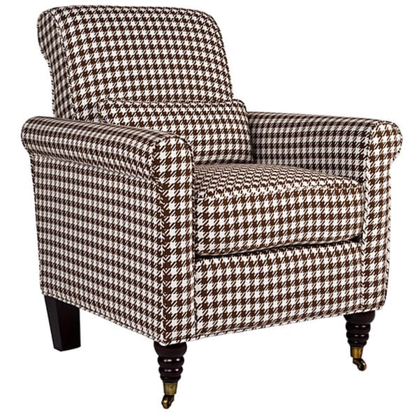 Handy Living Harlow Houndstooth Brown Check Arm Chair