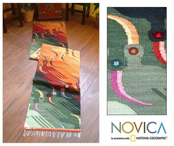 Handmade Peruvian 'Toucan Tango' Wool Rug (2' x 10')