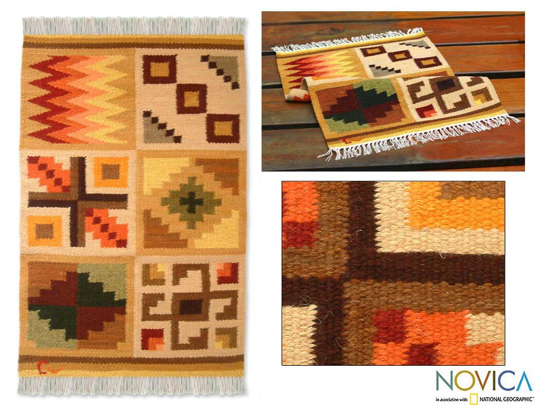 Handmade Peruvian 'Calendar' Wool Rug (2' x 3')