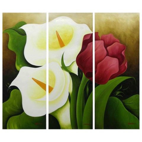 Handmade Calla Lilies and Tulip Multicolor Triptych Floral Original Art (Mexico) - jewel color/Green/multi