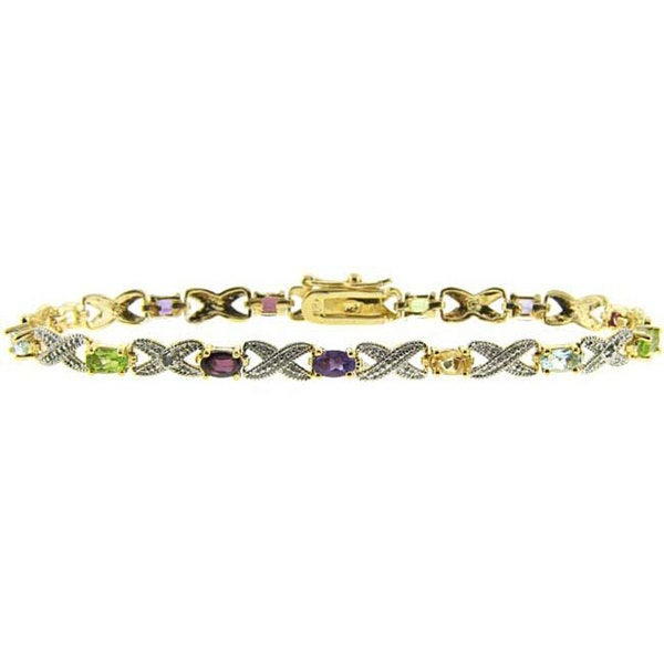 Dolce Giavonna 18k Gold over Silver Multi-gemstone and Diamond Accent Bracelet