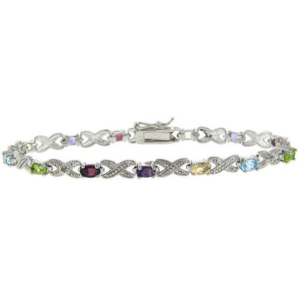 Dolce Giavonna Sterling Silver Multi-gemstone and Diamond Accent Bracelet