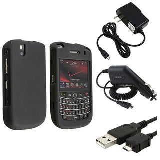 INSTEN Black Hard Plastic Phone Case Cover/ Car/ AC Charger/ USB Cable for BlackBerry 9630