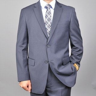 Men's Grey Two-button Wool and Silk Blend Suit