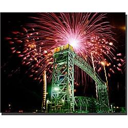 Kurt Shaffer 'Fireworks Bridge' Gallery-wrapped Art