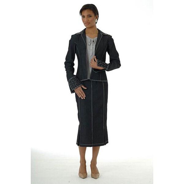 Shop Divine Apparel Women S 3 Piece Dressy Denim Skirt Suit Free