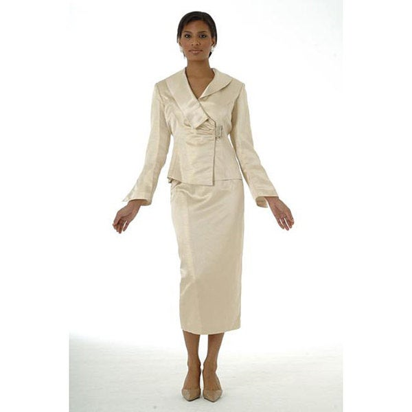Shop Divine Apparel Women S Gold Metallic Skirt Suit Free Shipping