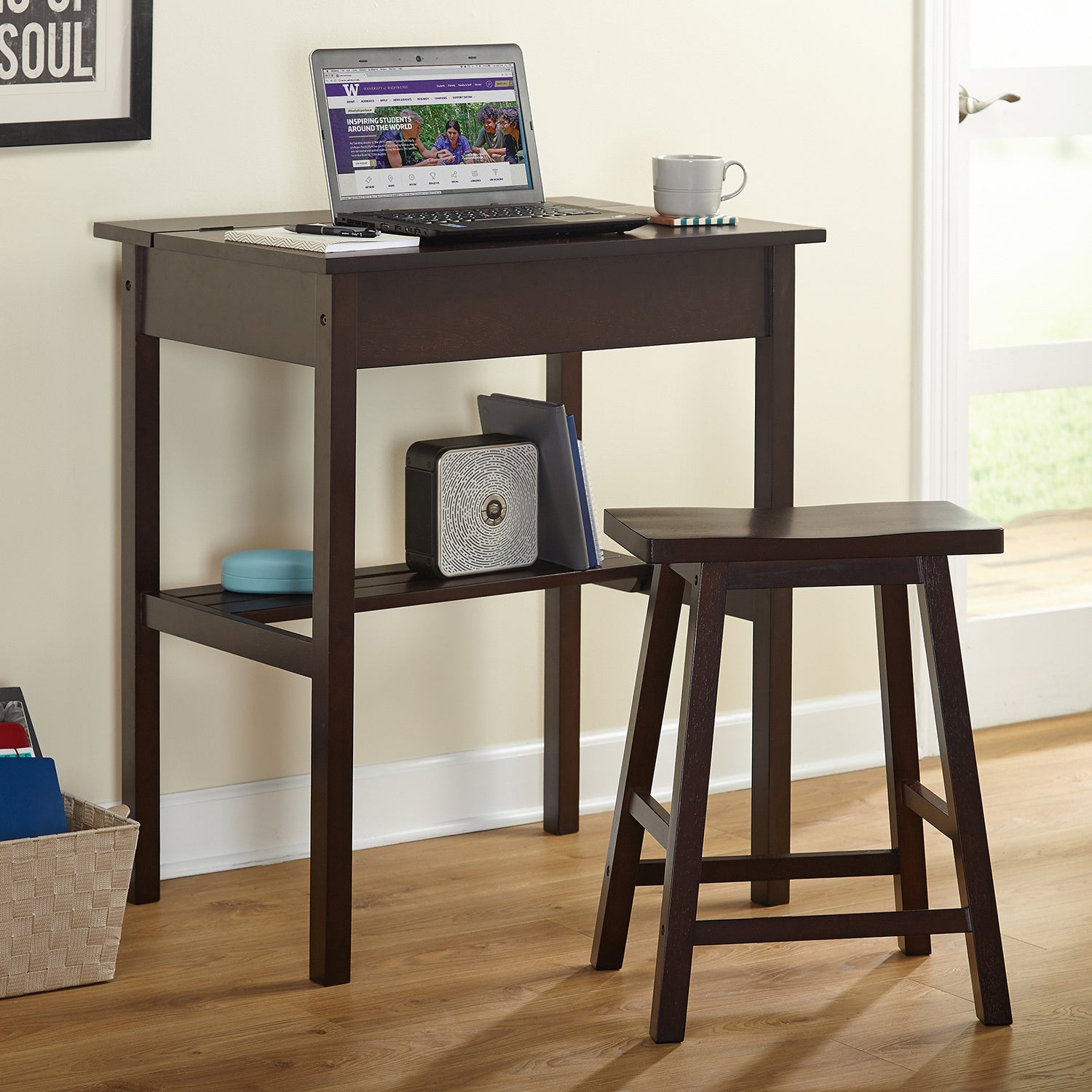Simple Living Lincoln Study Desk Set, Brown, Size Small