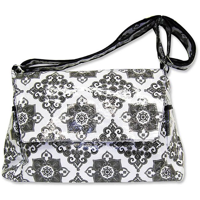 Trend Lab Versailles Black and White Messenger Diaper Bag