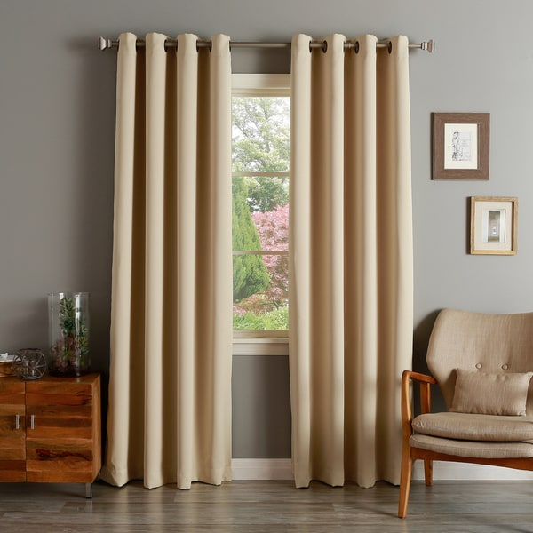 aurora home solid grommet top thermal insulated 108inch blackout curtain panel pair