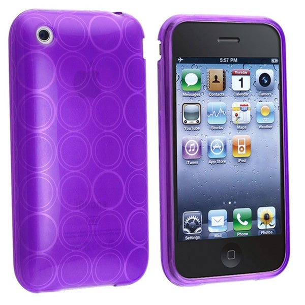 INSTEN TPU Rubber Phone Case Cover for Apple iPhone 3gs, Clear Purple Circle