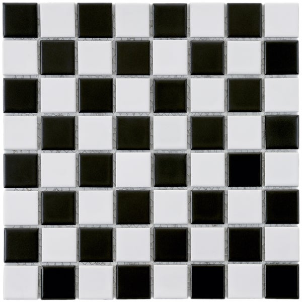 SomerTile 12x12-in Checker 1-3/8-in Black and White Porcelain Mosaic Tile (Pack of 10)
