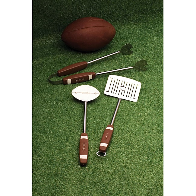 Stainless Steel Football-theme 3-piece Barbecue Grill Tool Set