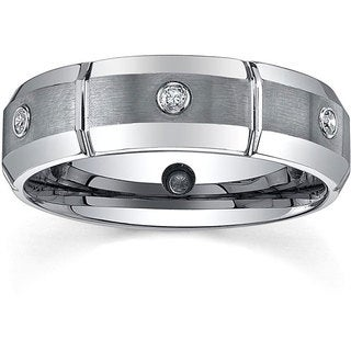 Tungsten Men's 1/6ct TDW Diamond Dual-finished Band (7 mm)