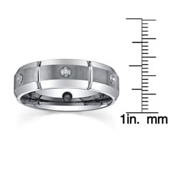 Tungsten Men's 1/6ct TDW Diamond Dual-finished Band (7 mm) - Thumbnail 2